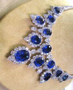 00680 NK Ear No Heat Sapphire Diamond Platinum Necklace Tanzanite Necklace, Sapphire Jewelry, Sapphire Diamond, Gemstone Necklace, Blue Sapphire, I Love Jewelry, Fine Jewelry, Jewelry Design, Unique Jewelry