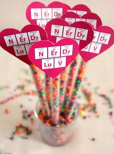 Nerdy Valentine Candy Straws with Free Printable Tag