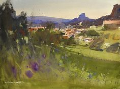 Polignac, France by Eugen Chisnicean Watercolor ~ 45cm x 60cm