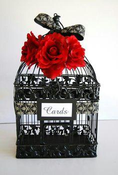 Items similar to Large BLACK Wedding Bird Cage Card Holder - Black and Ivory Damask Ribbon with Red Roses on Etsy Wedding Birds, Wedding Wishes, Fall Wedding, Diy Wedding, Dream Wedding, Damask Wedding, Geek Wedding, Wedding Stuff, Wedding Themes