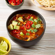 Don't be shy about loading up the spices and shredded chicken into your pressure cooker. Chicken tortilla soup tastes great as leftovers the next day. Chili Recipes, Mexican Food Recipes, Soup Recipes, Chicken Recipes, Cooking Recipes, Ethnic Recipes, Dinner Recipes, Chicken Soups, Mexican Desserts