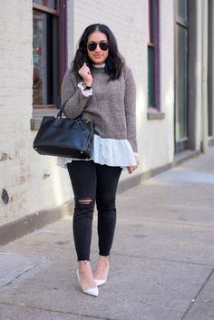 Ninesto5: Easy Layers {under $25 layered sweater + ripped jeans}