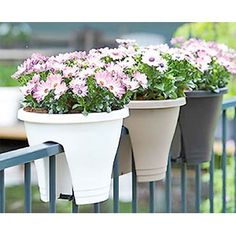 Beautify a# balcony railing with a #flower bridge planter. This straddles a railing or fence so that you can place a pot where it's not wide enough to stand. Measuring 30cm in diameter by 27cm, it has two stabilisers so that it balances perfectly, plus two drainage holes!