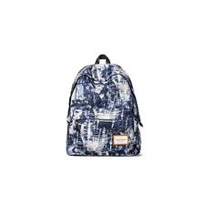Printed Nylon Backpack ($38) ❤ liked on Polyvore featuring bags, backpacks, accessories, nylon bag, knapsack bags, blue backpack, blue bag and nylon backpack