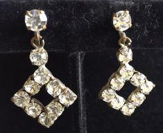 Vintage Art Deco Clear Rhinestone Chandelier Earrings, Square Dangle Earrings, 1920s Era, Look Like Paste Stones, Dramatic Party Earrings