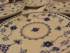 Furnivals- set of 6- Blue Denmark Blueware Saucers or Bread Plates