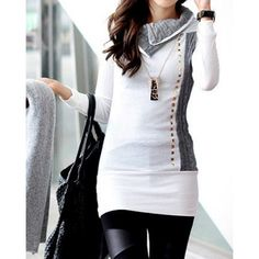 Stylish Turn-Down Collar Rivet Embellished Long Sleeve T-Shirt For Women, WHITE, XL in Tees & T-Shirts | DressLily.com