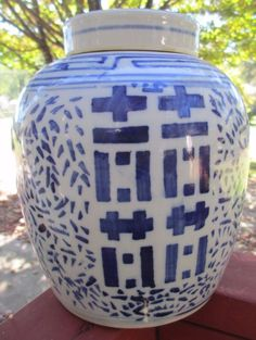 Chinese Asian Happiness Vase Blue and White Ginger Jar