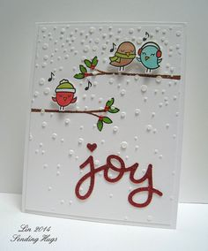 Lawn Fawn Scripty Joy, Winter Sparrow, Simon Says Stamp Holiday Shapes Hearts Stars; (stamps) Lawn Fawn Winter Sparrows; (stencil) Simon Says Stamp Falling Snow]