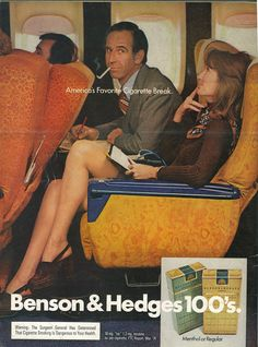 Retro cigarette ad, remember when we were able to smoke on a plane. Old Advertisements, Retro Advertising, Retro Ads, Benson & Hedges, Vintage Cigarette Ads, Pub Vintage, Funny Vintage Ads, Funny Ads, Nostalgia