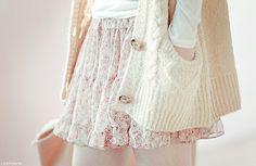 floral + cardigan