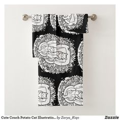Cute Couch Potato Cat Illustration Bath Towel Set Bath Towel Sets, Bath Towels, Potato Cat, Decorative Leaves, My Spirit Animal, Artwork Design, Cute Illustration, Print Design, Couch