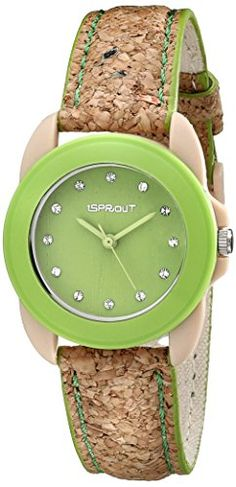 Sprout Women's ST/1057GNCK Swarovski Crystal Accented Green Dial Natural Cork Strap Watch -