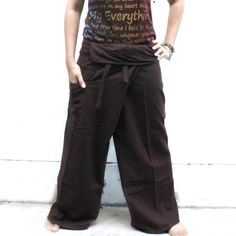solid brown  and 1 pocket Thai fisherman pants by meatballtheory, $18.00