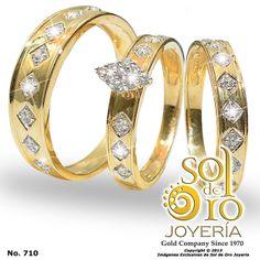 Trío de boda en oro 14k con zirconia RD$45,000