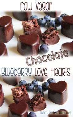 Raw Chocolate Blueberry Love Hearts.  #vegan #dairyfree #glutenfree