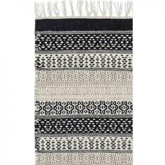 Iceland Teppich aus Wolle- schwarz und Naturfarbe   Liv Interior