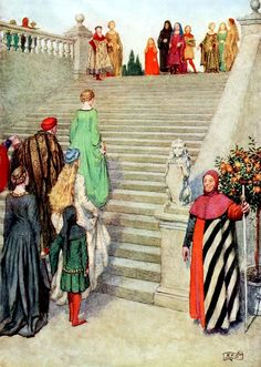 Dante and Beatrice first meeting ~ Eleanor Fortescue Brickdale ~ (English: 1871-1945)