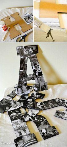 30+ Fotowände und Fotocollagen Ideen - Fotobuchstaben basteln #handmadehomedecor