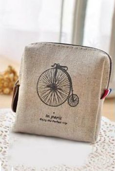 Nostalgic Memories Vintage Print Canvas Coin Purse in Linen White | Sincerely Sweet Boutique