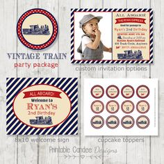 Vintage Train Birthday Party Package  Train by printablecandee