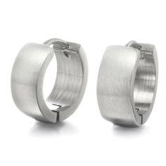 R&B Schmuck Herren Reifen Ohrringe Edelstahl - Maskuline, Klassik, Schlicht (Silber): 13,90€