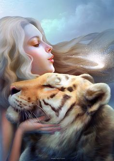 Freya, Norse Goddess of love, beauty, fertility, war, wealth, divination and magic. She is associated with the lynx, the extinct Caspian Tiger, and the witches' cat.