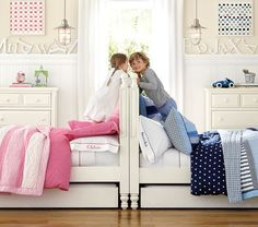 I'm not a huge fan of the whole 'pink for girls and blue for boys' stereotype, but I love the idea of combining two complementary colours in a room for two kids. It could work well for my twins.