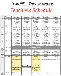 Free form. Homeschool Teacher's Schedule. This has to be one of my very favorite organizing forms because it truly keeps me on task. It is what I call the MASTER SCHEDULE or the Teacher's Schedule. By one glance I can tell which child I am suppose to be working with and on what subject. It saves me money and tons of grief. I don't buy lots of curriculum or have grandiose ideas of what I can actually accomplish. Keep it real, Grab it at | Tina's Dynamic Homeschool Plus