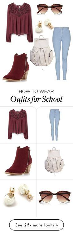 """""""School"""" by ven-atulu on Polyvore featuring MANGO, Topshop, Dorothy Perkins, River Island, women's clothing, women, female, woman, misses and juniors"""