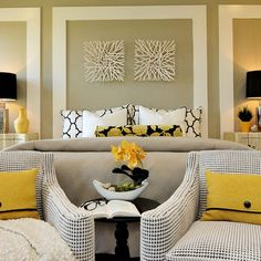 symmetrical bedroom layout, wood box wall mouldings, create architectural interest, gray and yellow