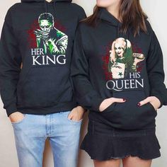 For the king and queen of Gotham. Matching Couple Outfits, Matching Couples, Matching Shirts, Cute Comfy Outfits, Cool Outfits, Harley And Joker Love, Margot Robbie Harley Quinn, Cool Hoodies, Couple Shirts