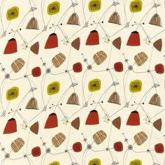 Perpetua 'Perpetua' is taken from a document in the Sanderson archive. This is one of a collection of four modernist designs printed on rayon for Sanderson in (Surely must be taken from Lucienne Day's Perpetua design for Heals - JM) Lucienne Day, Fabric Design, Pattern Design, Print Design, Fabric Patterns, Print Patterns, Harlequin Fabrics, Sanderson Fabric, 1950s Design