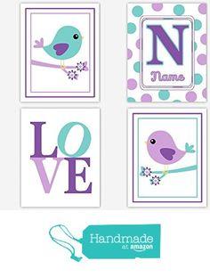 Baby Girl Nursery Wall Art Purple Lavender Teal Aqua Personalized Monogram Name Birds Toddler Room Art Polka Dots LOVE Print Flowers Baby Nursery Decor SET OF 4 UNFRAMED PRINTS from Dezignerheart Designs https://www.amazon.com/dp/B0161KSBUI/ref=hnd_sw_r_pi_dp_KSCCxbYXV32KF #handmadeatamazon