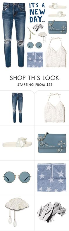 """Tear it Up: Distressed Denim"" by deepwinter ❤ liked on Polyvore featuring moussy, Hollister Co., Puma, MICHAEL Michael Kors, Ray-Ban, STELLA McCARTNEY, November, Forest of Chintz, Bobbi Brown Cosmetics and distresseddenim"