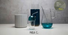 Limonata Mouth-Blown Blue Glass Carafe with Mixer by Cristina Celestino for Paola C. for Shop with global insured delivery at Pamono. Ceramic Boxes, Ceramic Vase, Cristina Celestino, Slow Design, Live In Style, Wooden Crates, Frappe, Design Awards, Carafe