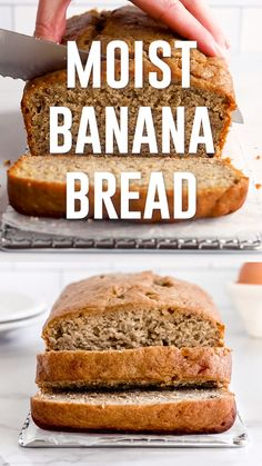 Moist banana bread is made with ripe bananas and melted butter for the best taste and texture. Each slice has a tender crumb and plenty of banana flavor. Learn how to ripen banana quickly as well as s 3 Ingredient Banana Bread Recipe, Banana Bread Recipe Video, Banana Bread Recipe With Bisquick, Banana Bread Recipe Frozen Bananas, Moist Banana Bread, Vegan Banana Bread, Keto Bread, Easy Healthy Banana Bread, Banana Bread Without Butter