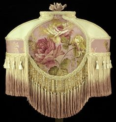 """~ Beautiful """"Victorian"""" Silk Brocade Lampshade With Lovely Fringe ~ Victorian Lamps, Antique Lamps, Victorian Era, Victorian Lighting, Victorian Houses, Wooden Lampshade, Vintage Lampshades, Biscuit, I Love Lamp"""