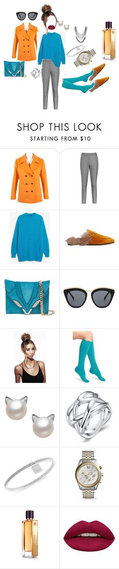 """контраст"" by senchuha ❤ liked on Polyvore featuring Tomas Maier, Reiss, Monki, Gucci, Elena Ghisellini, Le Specs, Vim & Vigr, Michael Kors, Guerlain and Huda Beauty"