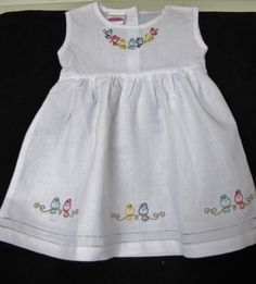 "Items similar to Embroidered ""Perching Bird Line"" Linen Dress on Etsy Baby Girl Frocks, Frocks For Girls, Little Girl Dresses, Vintage Baby Dresses, Baby Frocks Designs, Kids Frocks Design, Baby Bloomers Pattern, Smocked Baby Dresses, Kids Dress Wear"