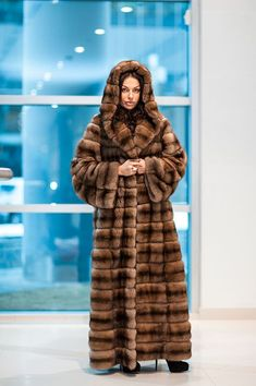 long hooded sable fur coat