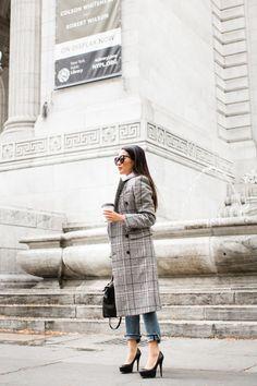 Refined Basics :: Plaid coat Balenciaga Coat, Karen Walker Sunglasses, Wendy's Lookbook, Saint Laurent Bag, Plaid Coat, Elegant Outfit, Full Zip Hoodie, Hoodies, Sweatshirts