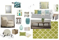 Green and Turquoise Living Room Mood Board | Satori Design for Living E -Design Project