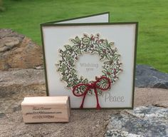 Another Christmas card using Stampin Ups Peaceful Wreathe stamp set