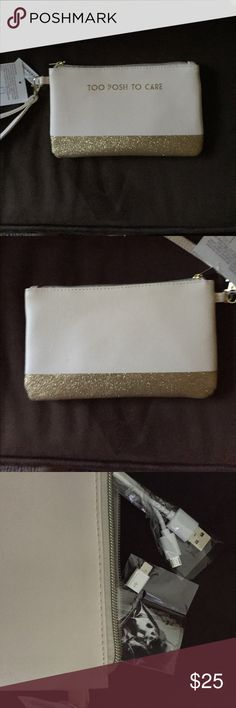 TOO POSH TO CARE WRISTLET TOO POSH TO CARE WRISTLET not just ANY WRISTLET it's also has a built in battery to charge your phone.  To Posh Chic PRICE IS FIRM Charming Charlie Bags Clutches & Wristlets