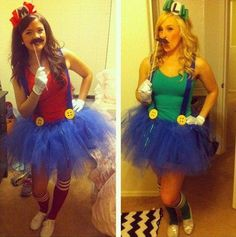 tutu mario and luigi halloween costume Costume Halloween, Cute Costumes, Halloween Party, Costume Ideas, Halloween 2013, Girl Costumes, Halloween Clothes, Awesome Costumes, Halloween Ideas