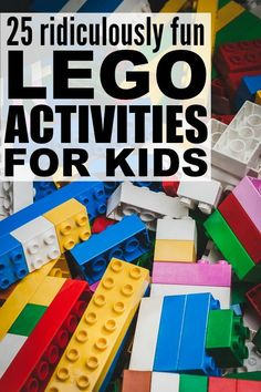 If you're on the hunt for boredom busters for bad weather days, or just like to find new and exciting kids activities you can enjoy with your little ones, you'll love this collection of fun and easy lego activities for kids! There are so many fantastic id Craft Activities For Kids, Toddler Activities, Projects For Kids, Stem Activities, Party Activities, Creative Activities, Games For Preschoolers, Home Games For Kids, Indoor Activities For Kids