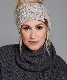 C.C® Oatmeal Speckle Knit Bun Beanie - Women  e095447cf15f