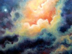 Night Sky ART PRINT, Heaven, Full Moon, In The Beginning, From The Original Oil Painting by Marina Petro on Etsy, $39.99