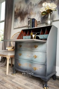 Parisian Inspired Secretary Desk Brushed by Brandy Parisian Inspired Secretary Desk Brushed by Brandy Brushed by Brandy DIY Furniture Painting Tutorials brushedbybrandy The Best of nbsp hellip makeover gray Gray Painted Furniture, Grey Furniture, Chalk Paint Furniture, Refurbished Furniture, Furniture Projects, Furniture Makeover, Desk Makeover, Chalk Paint Desk, Dresser Makeovers